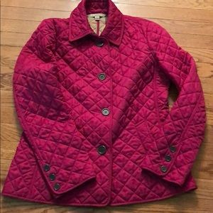 Like new Burberry Brit raspberry quilted jacket